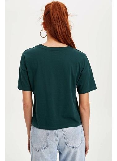 DeFacto Baskılı Kısa Kollu T-shirt Yeşil
